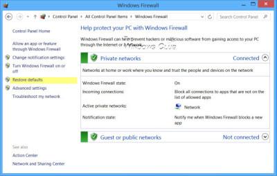 Restaurar o restablecer la configuración de Firewall de Windows a los valores predeterminados