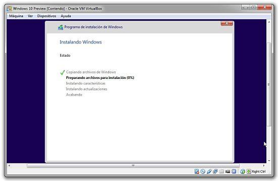 Instalacion de Windows 10 Preview