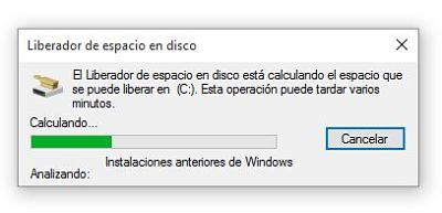 Liberar espacio en Windows 10 borrando instalación anteior