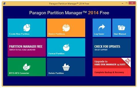 Paragon Partition Manager Free Edition, utilidad para gestionar particiones de disco duro