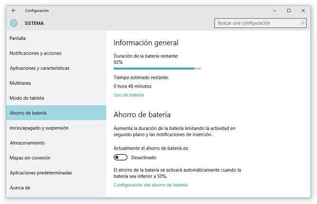 Chequear el consumo de batería de las aplicaciones en Windows 10
