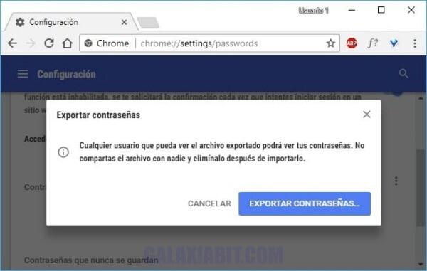 Cómo exportar las contraseñas guardadas desde Google Chrome
