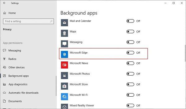 Bloquear a Microsoft Edge en segundo plano