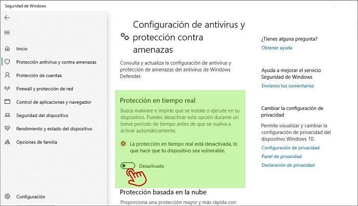 Desactivar el antivirus en Windows 10