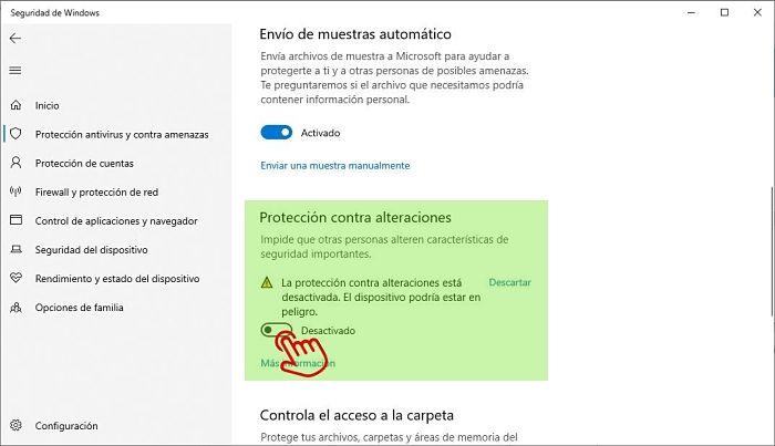 Deshabilitando la protección contra alteraciones de Windows Defender
