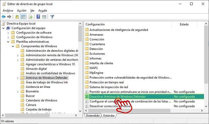 Deshabilitar Windows Defender en Políticas de grupo local