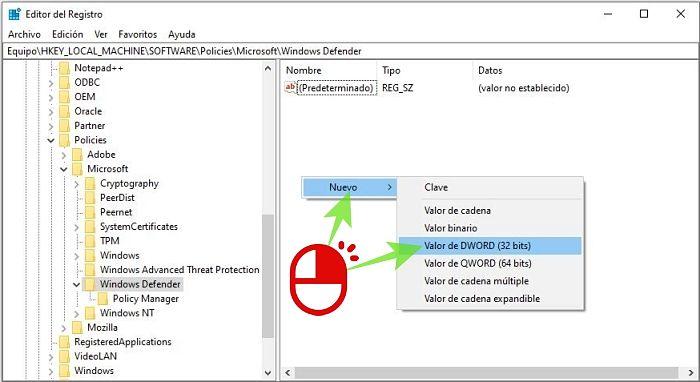 Apagar el antivirus en el Registro de Windows